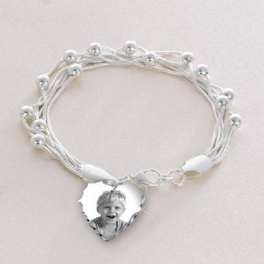 Multi Chain Bracelet with Photo Charm and Personalised Engraving | Someone Remembered